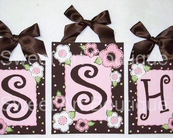 Pink Brown white flowers dots Custom canvas letter sign wall Monogram initial set art personalized children decor painting baby nursery dot