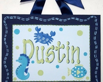 Ocean Sea Beach Custom canvas letter name sign wall art baby boy crab fish seahorse aqua blue sage green turquoise children personalized