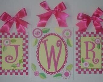 Gingham, Pink, Nursery wall letters, Nursery wall art, Monogram wall art, Personalized, Hand Painted, Flowers, Checkered, checks, Custom art