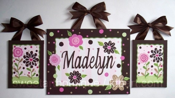 Personalized Custom canvas letter name sign wall art decor nursery children paintng monogram set of 3 paintings pink brown flowers dots