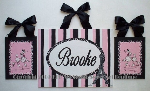 Paris Pink Black CUSTOM canvas name sign wall art Girl Set of 3 paintings France Eiffel Tower White poodle