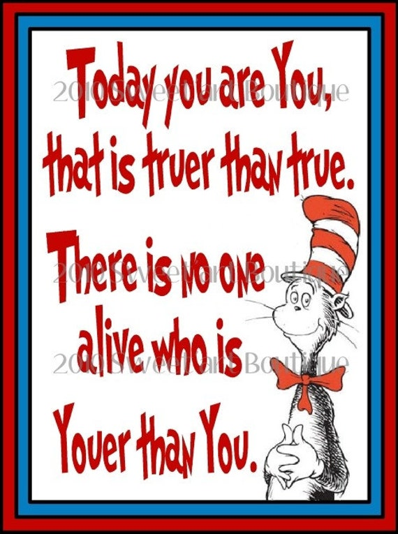 Dr Seuss Art Print Today You Are You Kids Nursery Baby Wall