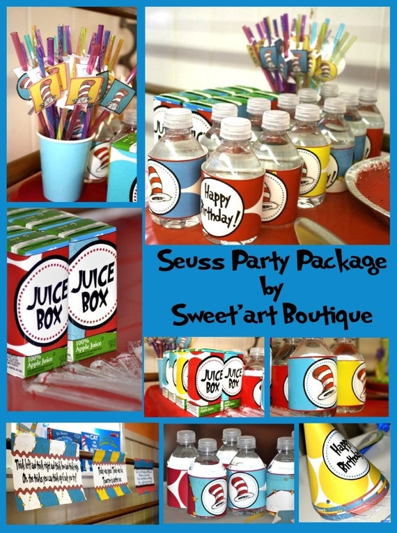 SEUSS Inspired Huge Standard Party Package pack DIY Printable Red turquoise yellow banner happy decoration topper napkin wrap cat hat