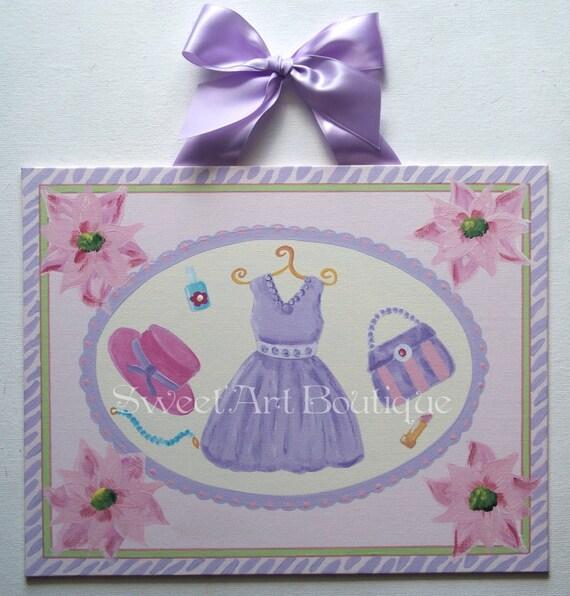 Lavender Purple Dress Purse Hat flower Custom canvas wall art baby nursery kids handpainted pink zebra pattern