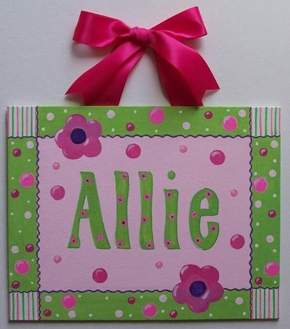 Hot Pink Lime Green Dots Personalized Custom canvas letter name sign wall art flower children decor painting monogram baby nursery stripes