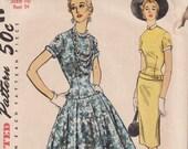 "Vintage Sewing Pattern 1950's Ladies' Drop Wiast Dress Simplicity 4993 34"" Bust"