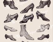Digital Collage Vintage Edwardian Shoes and Boots Sheet -INSTANT DOWNLOAD-