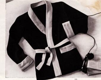 Menswear Vintage Knitting Pattern Mens Smoking Jacket French Pattern Drafting Layout PDF -INSTANT DOWNLOAD-