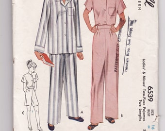 "Vintage Sewing Pattern Ladies 1940's Pajama Set McCall 6539 34"" Bust - Free Pattern Grading E-book Included"