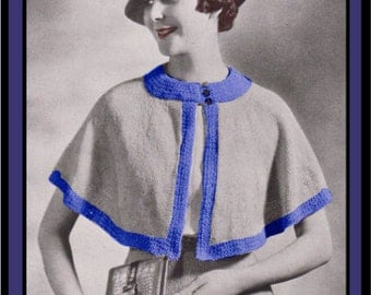 Vintage Knitting Pattern 1930's Cape PDF Digital Copy Size 16 -INSTANT DOWNLOAD-