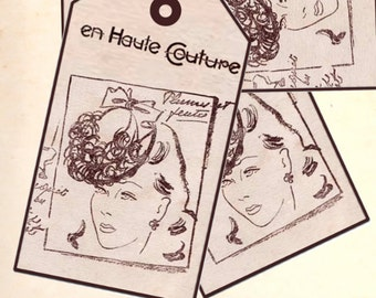 1940's Style Digital Printable French Fashion Gift or Price Tags -INSTANT DOWNLOAD-