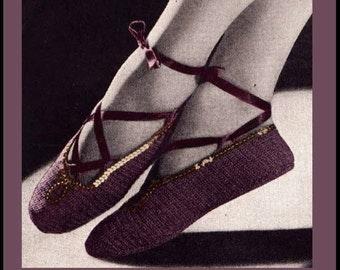 Vintage Crochet Pattern Ladies 1940's Ballet Slippers With Optional Sequin Trim Digital -INSTANT DOWNLOAD-