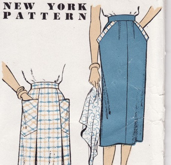 New York 1030 Vintage Ladies Skirt 1950's Sewing Pattern Factory Fold