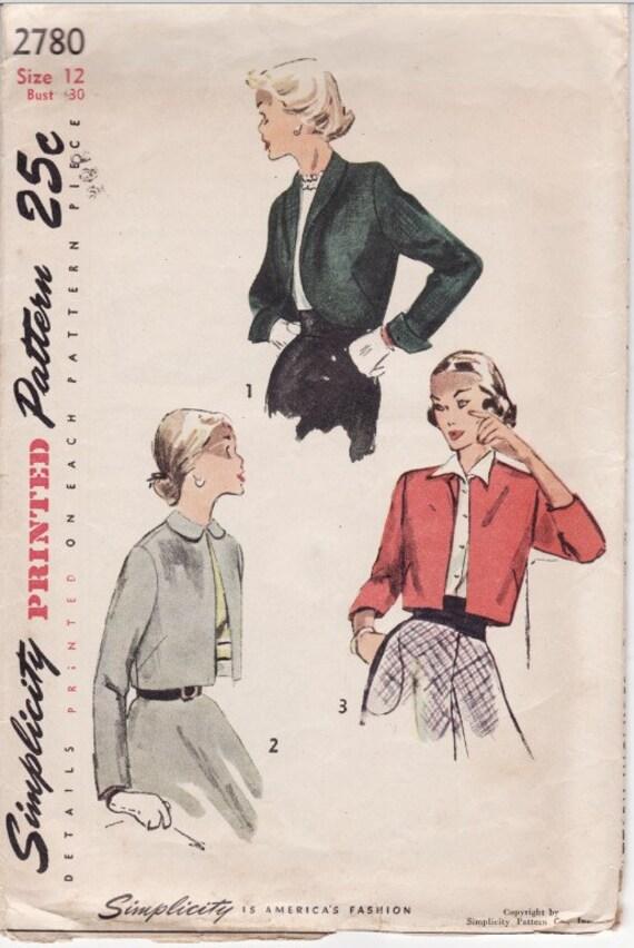Simplicity 2780 Vintage Ladies Bolero Jacket Sewing Pattern