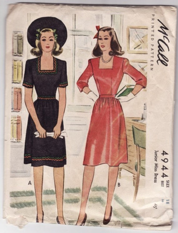 McCall's 4944 Ladies Dress Vintage 1940's Sewing Pattern 36 Bust