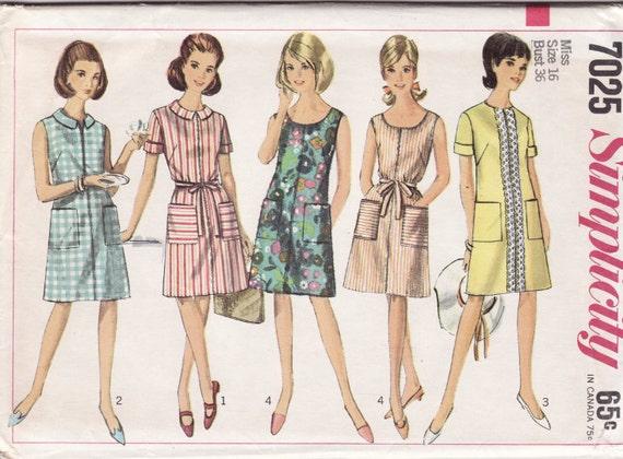 Simplicity 7025 1960's Ladies' Dress Vintage Sewing Pattern