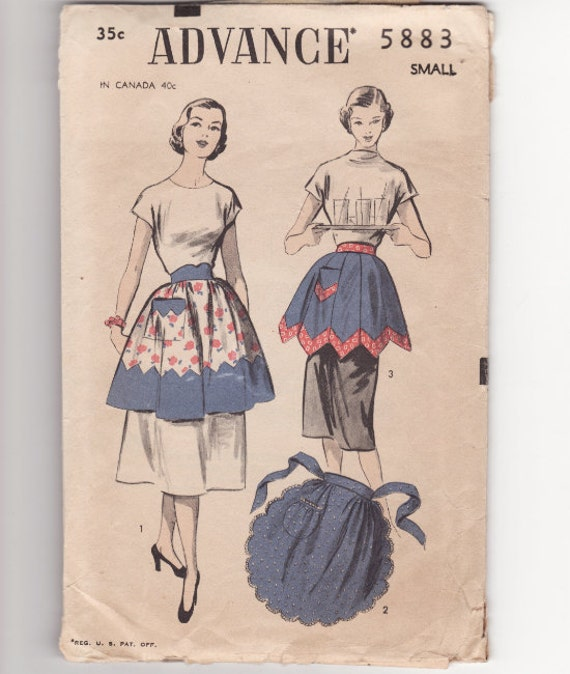 Vintage Sewing Pattern Advance 5883 Ladies Apron  Size Small