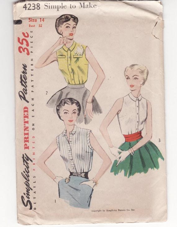 Vintage Sewing Pattern Simplicity 4238 1950's Ladies Blouse 32 Bust FF