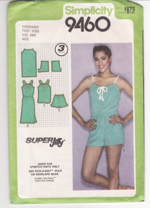 Vintage Sewing Pattern Ladies Loungewear and Playsuit 1980's - Free Pattern Grading E-book Included