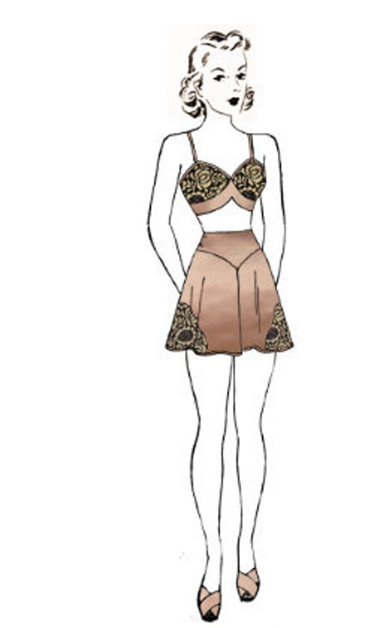 Vintage Pauline Matching Lace Bra and Tap Panties Sewing Pattern PDF Printable Copy 34 Bust, 28 Waist