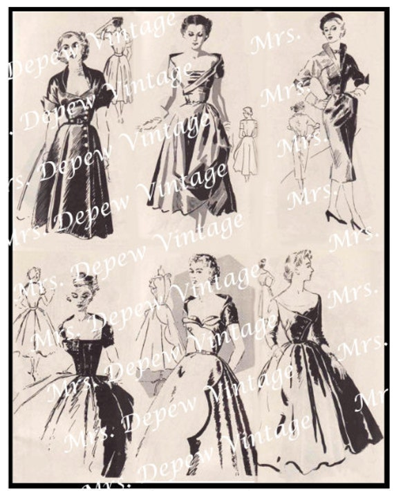 Digital Collage Vintage 1950's Designer Fashions Two Sheets -INSTANT DOWNLOAD-