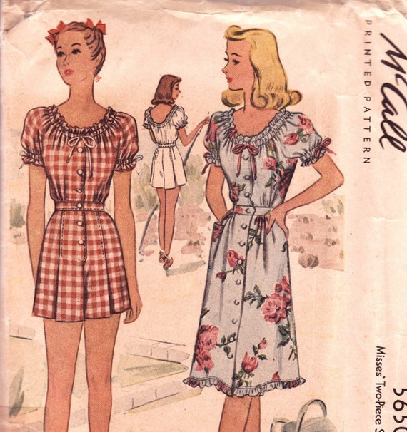 "Vintage Sewing Pattern Rare 1940's Misses Dress and Playsuit 30"" Bust McCall 5650"
