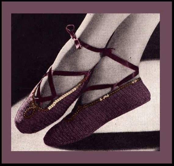 Vintage Crochet Pattern Ladies 1940's Ballet Slippers With Optional Sequin Trim Digital -INSTANT DOWNLOAD-