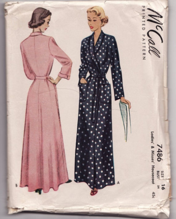 "Vintage Sewing Pattern 1940's Ladies Housecoat and Robe McCall 7486 34"" Bust"
