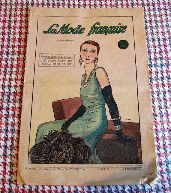 Vintage Fashion Magazine Rare La Mode Française With Clothing, Hats, Accessories and Patterns