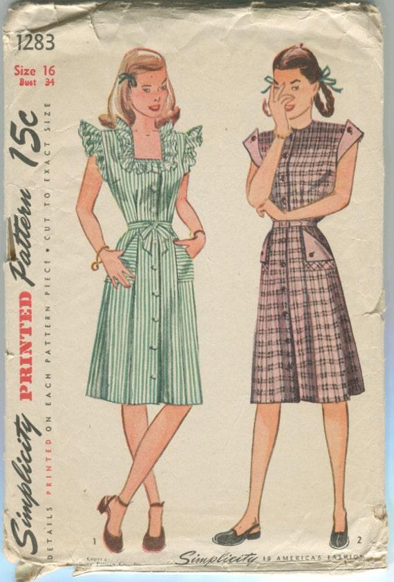 "Vintage Sewing Pattern Simplicity 1283  Misses Dress  34"" Bust"