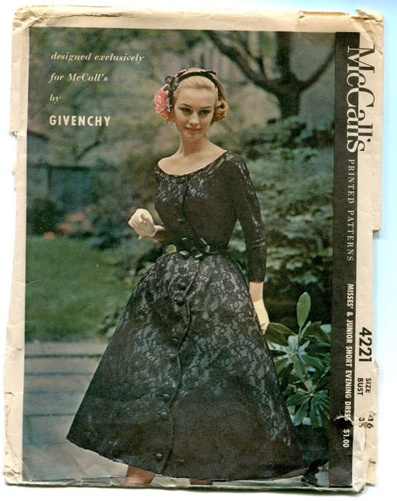 RESERVED for Alangrieal Vintage Sewing Pattern 1950's Givenchy Designer Evening Dress McCall's 4221 Size 16 36 Bust