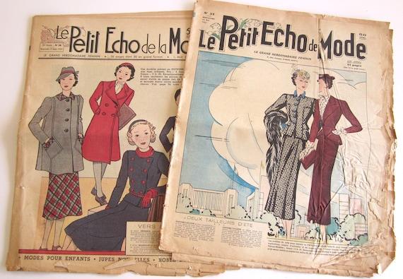 Vintage French Magazines 2 Petit Echo de la Mode Fashion Sewing and Knitting