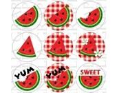 Bottle Cap Digital Images Watermelons 1 inch