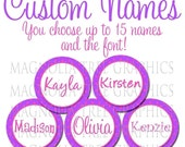 Bottle Cap Digital Images Custom Names on Purple and Pink Polka Dot Background Personalized