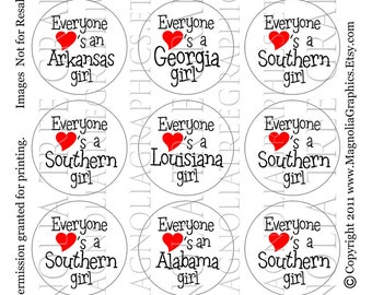 Bottle Cap Digital Images Southern Girl State Sayings
