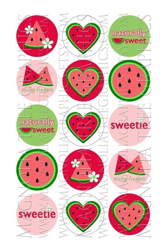 Bottle Cap Digital Images Made to Match Gymboree Watermelon Picnic