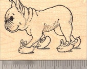 French Bulldog wearing Bunny Slippers Rubber Stamp J16503 WM