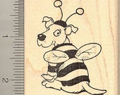 Dog in Bee Costume Halloween Rubber Stamp H9701 Wood Mounted