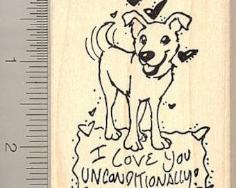 Dog Valentine - unconditional love rubber stamp H8906 WM