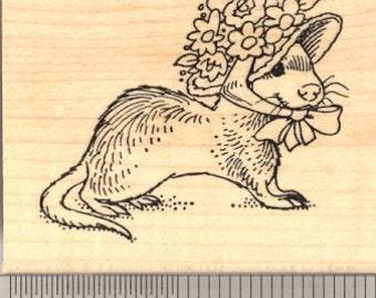 Easter Ferret in Bonnet Rubber Stamp H13117 WM