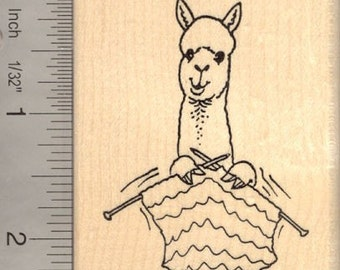 Alpaca Knitting Rubber Stamp J13306 Wood Mounted