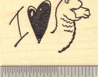 I heart Alpaca   Rubber Stamp E13312 Wood Mounted