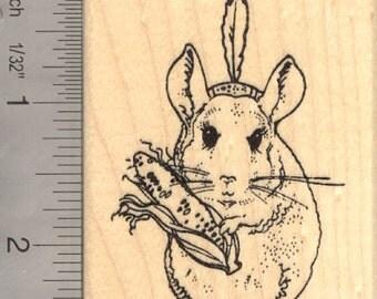 Thanksgiving Chinchilla Rubber Stamp  J14216 Wood Mounted