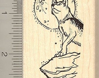 Timber Wolf and Moon Rubber Stamp J9512 - Wood Mounted