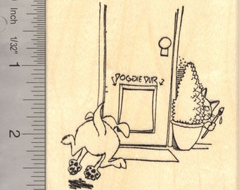 Pranks Cats Play on Dogs Rubber Stamp, April Fools Day  L16914 Wood Mounted