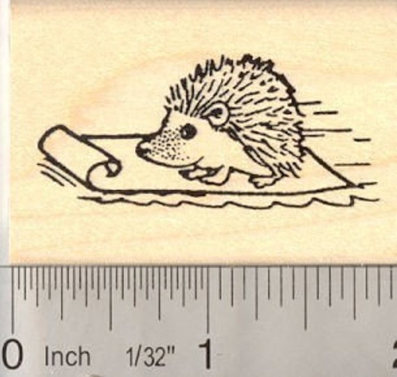 Small hedgehog on Sled Rubber stamp E12411