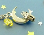 Moo Moo the Cow is Stuck on the Moon - Antiqued Pewter Charm Necklace