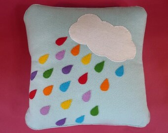 Rain Drops Cloud Mobile and Rainbow Cushion PDF Sewing Pattern | nursery, mobile, cloud mobile, hanging cloud mobile, cloud cushion, rain