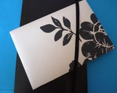 New size - pack of 8 upcycled envelopes 4.5ins x 6.5ins (11.25cm x 16.5cm) in striking monochrome floral print