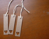 Brown heart bookmarks or gift tags, set of 3
